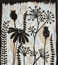 Items similar to Meadow a color linocut by Mariann Johansen-Ellis on Etsy Linocut Prints, Art Prints, Block Prints, Lino Art, Atelier D Art, Art Lessons, Flower Art, Printmaking, Illustration