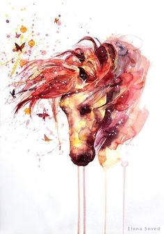 Fabulous horses in watercolor art by Elena Snved