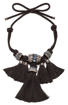 "Lanvin Woven Black cord Tassel Necklace Made in France Measures approx 37.5"" in length Glass crystal embellished bead pendants measure approx 4.5""W x 6""H Tassel detail Tie closure Our Style No. LANV-WL69 Manufacturer Style No. AW CJHQ3H CORD H15"