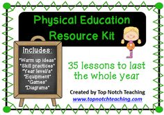 This physical education resource kit provides 35 lesson ideas that will last the whole year.  Each P.E. lesson is on a separate card to make it easy to take with you no matter where you're located. $ http://www.teacherspayteachers.com/Product/Physical-Education-Resource-Kit