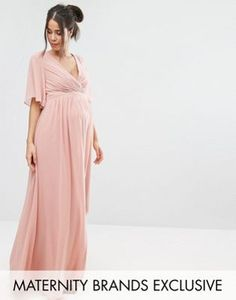 Little Mistress Maternity   Little Mistress Maternity Kimono Sleeve Maxi Dress