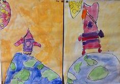 Raket afschieten - wasco en waterverf Neem een groot vel papier en laat de kinderen hier met wasco op de onderste helft een halve aardbol op tekenen. Boven de aarde tekenen ze een raket. Daarna wordt het werk ingekleurd met waterverf.