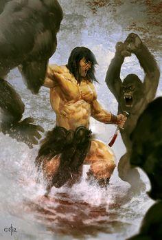 Conan vs. Apes by ortizfreelance on DeviantArt