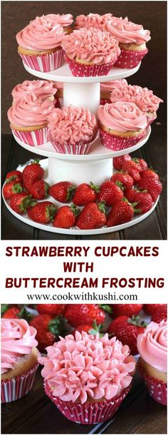STRAWBERRY CUPCAKES WITH BUTTERCREAM FROSTING - Cook with Kushi