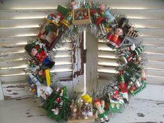 Vintage Wood Wooden Toy Ornaments Flocked Bottle Brush Christmas Wreath | eBay