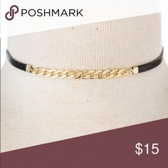 Black Faux Leather Chocker Necklace with Chain Brand new! Super cute!. 15% off of bundles! FEEL LIKE MAKING AN OFFER? Please do it through the make an offer feature as I will no longer negotiate prices in the comments section. PRICE IS FINAL ON ITEMS $15 or less unless bundled. Hannah Beury Jewelry Necklaces