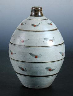 <b>§ David Leach, a good stoneware vase,</b> of bulbous form painted with iron and cobalt, impressed personal seal mark h:26 cm