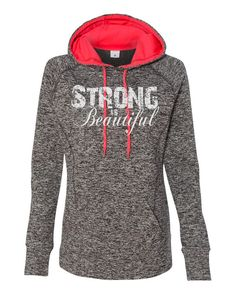 "Workout hoody fitness womens hoodie with ""Strong is Beautiful"" in white. Hand printed on incredibly soft, comfortable cosmic hoody, perfect for training at the gym, running, yoga, cross fit, etc. Fits true to size. Machine wash cold, tumble try low. No bleach. NOTE: Due to the nature of the ""cosmic"" look, no two shirts are alike. Variation in the color and/or pattern will be apparent and contributes to the unique properties of the product. 7 oz. 100% Spun Polyester fleece fabric Contrast…"