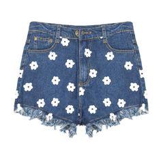 Flowers Denim shorts (155 BRL) ❤ liked on Polyvore featuring shorts, bottoms, pants, short, blue, denim short shorts, blue shorts, flower shorts, denim shorts and jean shorts