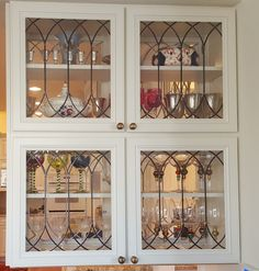 Cabinet Doors, Inserts, Beveled, Stained Glass, Etched, Art Glass - Brooks