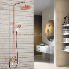 Red Copper 8 inch Rainfall Bathroom Dual Ceramic Lever Rain Shower Faucet Set Wall Mounted Mixer Tap lrg586 #Affiliate
