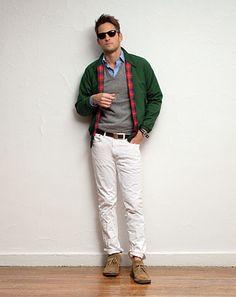 good look: baracuta jacket, desert boots, button down, sweater