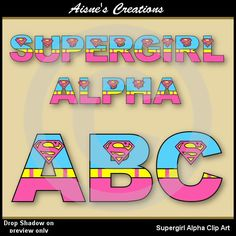 Supergirl Alphabet Clip Art - matching numbers available
