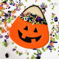 WINNERS of Food Networks Cupcake Wars! We're located in Glendora, California. Halloween Cookie Recipes, Halloween Cookies Decorated, Halloween Sugar Cookies, Halloween Party Favors, Halloween Desserts, Little Monster Birthday, Monster Birthday Parties, My First Halloween, Easy Halloween