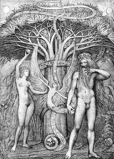 Dessin Ernst FUCHS - Adam and eve under the tree of knowledge Gustav Klimt, Rudolf Hausner, Vienna School Of Fantastic Realism, Adam Et Eve, Art Beauté, Art Visionnaire, Wow Art, Art Database, Christian Art