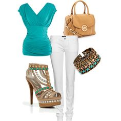 *Fancy! *  Turquoise and Beige, created by pinkcupcakesprinkles.polyvore.com