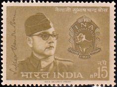 398 Subhas Chandra Bose & INA Emblem [India Stamp 1964]