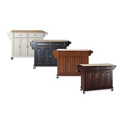 Natural Wood Top Kitchen Cart/Island  (Excellent reviews for quality, and less than $300 at BBB with their coupon? I think I'm sold.)