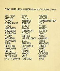 Creative words to describe your art in your artist's statement