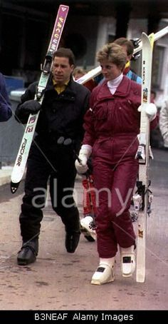 1991: Lord Linley and HRH Princess Diana on a skiing holiday at Lech, Austria.