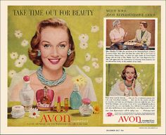 Take time out for beauty. #vintage #1950s #Avon #beauty #makeup #cosmetics #ads