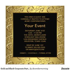 Gold and Black Corporate Party Event 5.25x5.25 Square Paper Invitation Card
