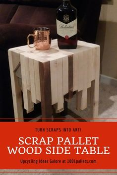 Scrap wood table made from pallets very rustic… made from many of leftover pallets and other wood projects a good way to prevent waste from your projects.  #PalletEndTable, #PalletSideTable, #PalletTable