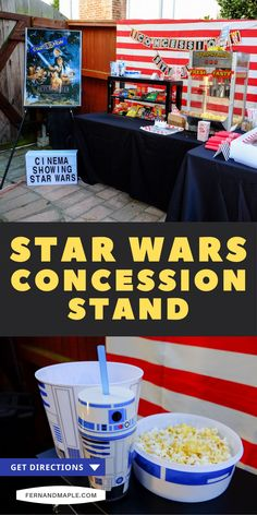 Every good movie night needs good snacks! Here's how to set up a DIY Movie Night Concession Stand, perfect for a Star Wars™ backyard movie night. Create a fun movie-theater vibe complete with popcorn, snacks and candy, movie posters and cinema lights! Get details now at fernandmaple.com.