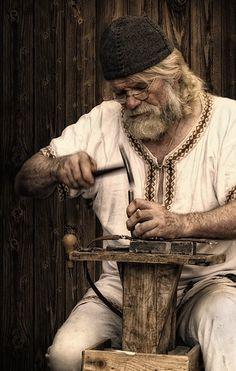 a saddler at the wolin viking festival. 2011.