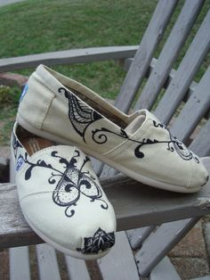 swirly design hand drawn on TOMS shoesmade to order by ArtfulSoles, $95.00
