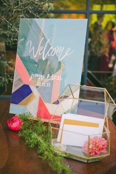 Geometric and bold wedding at the Fig House in Los Angeles; wedding welcome table; wedding card box