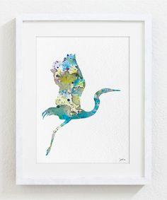 Great Blue Heron Watercolor Print - 5x7 Archival Print - Heron Bird Painting - Bird Art Print - Wall Decor Art Home Decor Housewares
