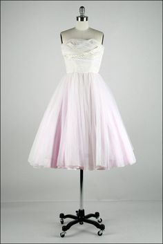 Vintage 1950s Dress . White Tulle . Lavender by millstreetvintage, $345.00