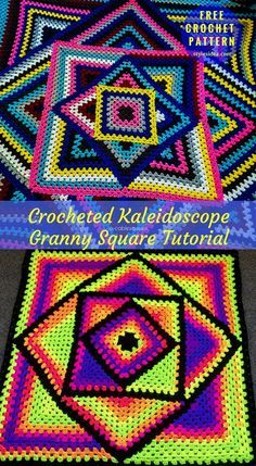 Kaleidoscope Crochet Granny Blanket Free Pattern | My Hobby