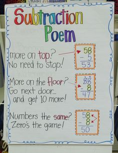 Subtraction Poem - I so need this for my special ed students!
