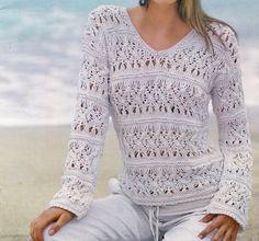 Tanti schemi a maglia gratis per creare un pullover a punto ajour. Daniela  Dada · lavori ai ferri e9ebeb0be200
