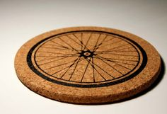 Bicycle Wheel Cork Kitchen Trivet by darkcycleclothing on Etsy