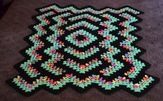 Drop in the Pond Lap Blanket - Black Light Green www.MissyMadeMe.com or www.facebook.com/MissyMadeMe