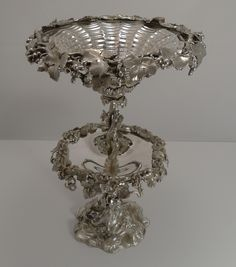 Grand English Elkington Silver Plate Fruit Centerpiece - 1857