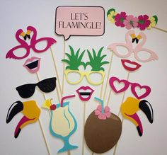 Flamingo Pineapple Party/Let's Flamingle Photobooth Props/Hawiian Luau/Bachelorette Luau/Ladies Night Flamingo Party