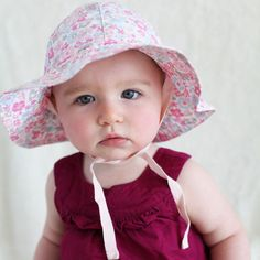 Precious Poplin Floral Printed Organic Cotton Sun Hat for Baby Girls icon Baby Sun Hat, Baby Girl Hats, Boy Or Girl, Baby Girls, Baby Design, Sun Hats, Poplin, Toddler Boys, Cute Babies