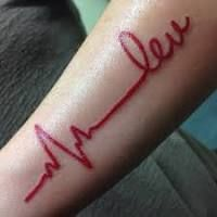 red ekg tatoos with black heart - Google Search