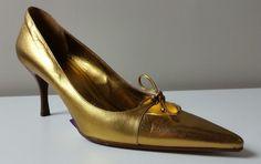 GUCCI Women s Gold Leather Shoes Stilettos Heels 8B