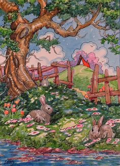 """Daily Paintworks - """"Bunny Shade Storybook Cottage Series"""" - Original Fine Art for Sale - © Alida Akers Storybook Cottage, Cottage Art, Watercolor Paintings, Original Paintings, Art Vintage, Whimsical Art, Painting & Drawing, Book Art, Art Drawings"""