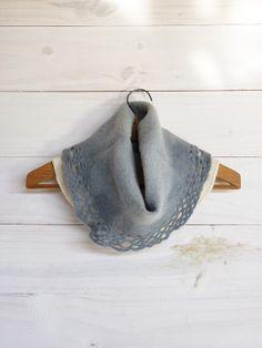 Ombre lace Neckwarmer gray chunky cowl merino wool