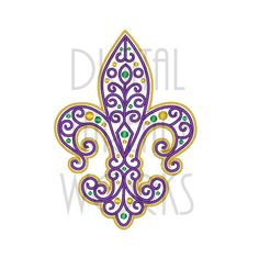 Filigree Fleur De Lis Mardi Gras Embroidery Design for 4x4, 5x7, and 6x10 inch hoops. Instant Download by DigitalThreadWorks on Etsy Embroidery Monogram, Mardi Gras, Machine Embroidery Patterns, 4x4, Heat Press, Filigree, Drawing Ideas, Tatting, Louisiana