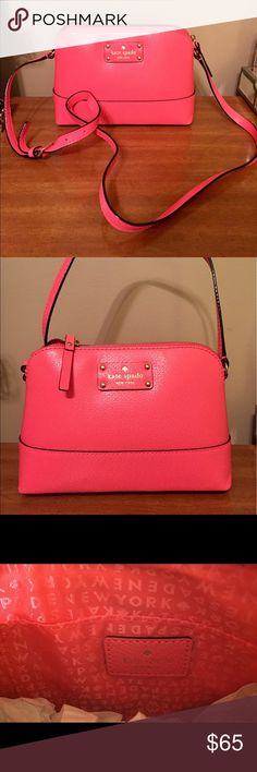 Kate Spade Hannah Crossbody Kate Spade Hannah Wellesley leather flamingo (coral) Crossbody bag. Never used, in excellent condition! kate spade Bags Crossbody Bags
