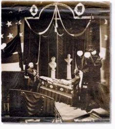 Only known authentic death photo of Lincoln. It shows him lying in state in New York City Hall, ten days after his assassination. It was taken by Garvey and Son, New York photographers. They later destroyed the original plate and all prints of it, except for one. Army did not allow pictures of Lincoln to be taken in his casket.