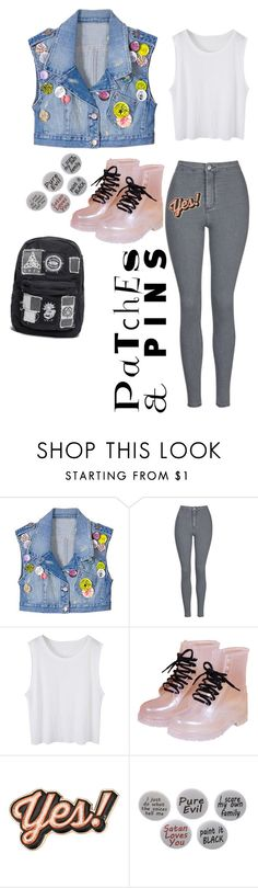"""""""Untitled #363"""" by lame-spacemilk ❤ liked on Polyvore featuring Larok, Topshop, Anya Hindmarch, Humör and patchesandpins"""