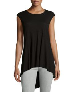 Jethro Sleeveless High-Low Tunic, Black, Women's, Size: L